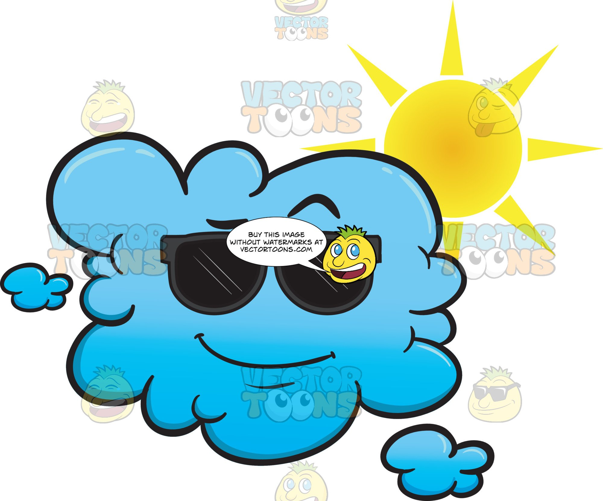 Cloud looking and in. Sunny clipart cool sunglasses