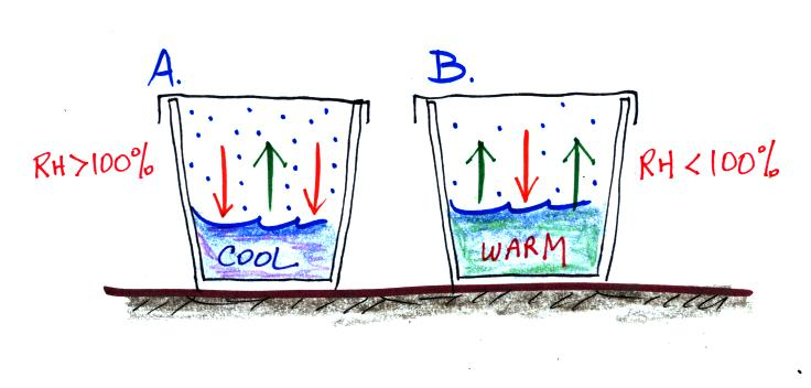 Evaporation clipart warm water. Condensation and saturation