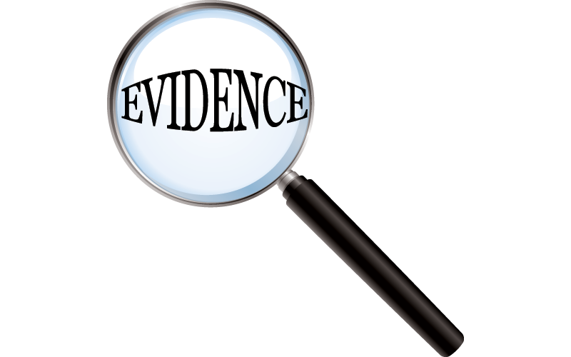 Stamp clipart evidence. In argument and decision