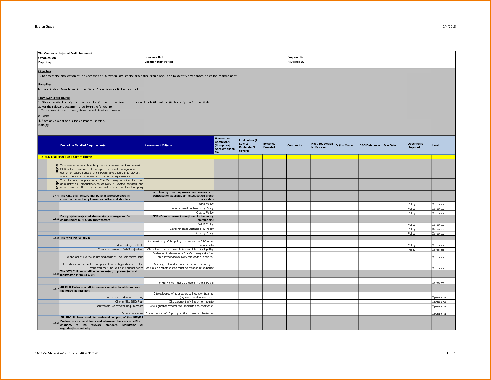Evidence clipart audit report. Professional internal template example