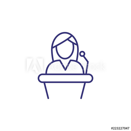 Evidence clipart court trial. Witness line icon female