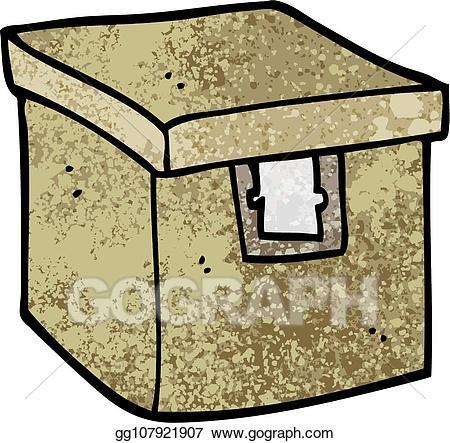 Vector illustration grunge textured. Evidence clipart evidence box