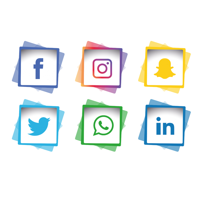 Tree clipart social media. Icons set facebook instagram