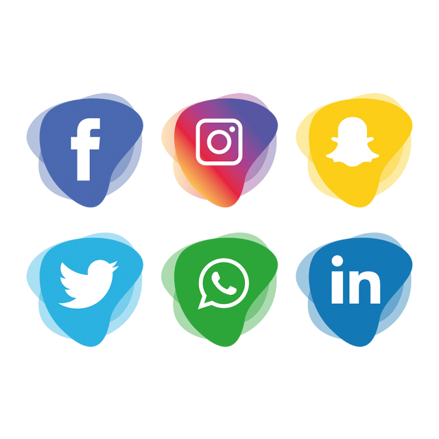 Social media icons set. Evidence clipart icon