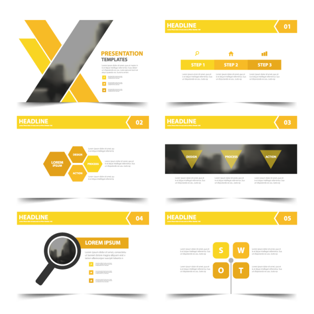 Yellow presentation templates infographic. Evidence clipart information leaflet