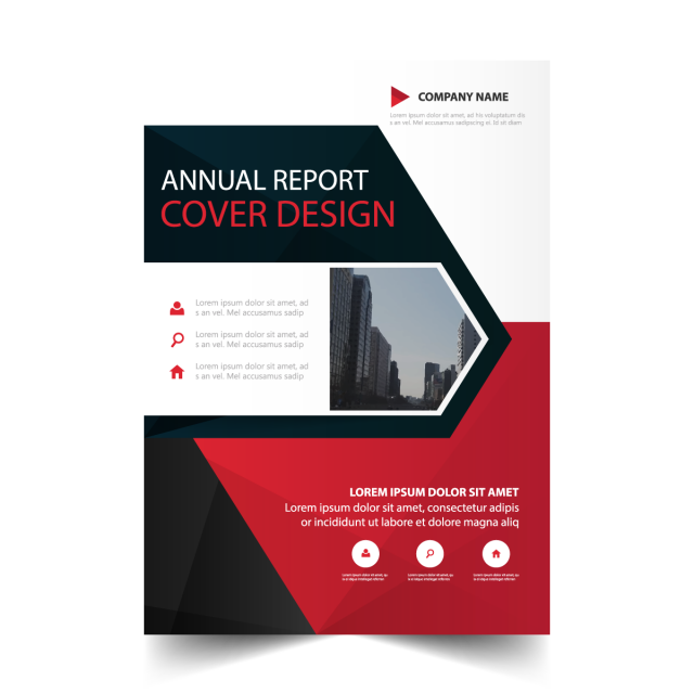 Red triangle annual report. Evidence clipart information leaflet