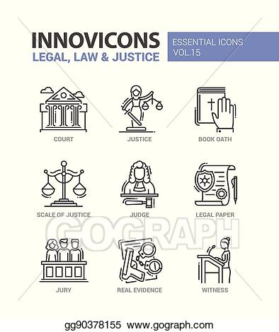 Evidence clipart judge jury. Vector stock law and