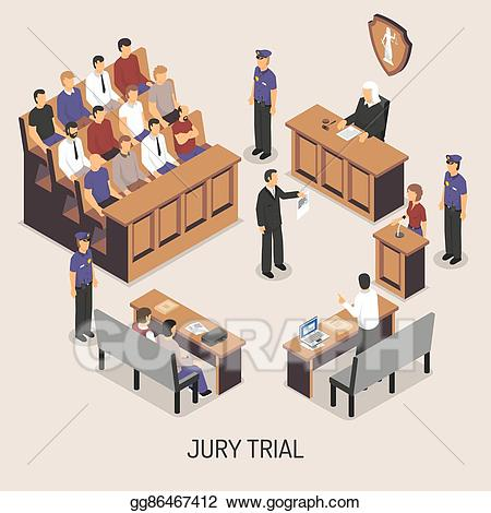 Evidence clipart jury. Eps vector trial isometric