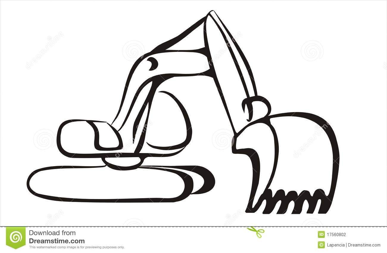 Excavator free black and. Backhoe clipart simple