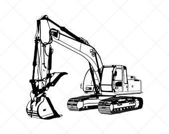 Svg etsy detailed clipartvector. Excavator clipart