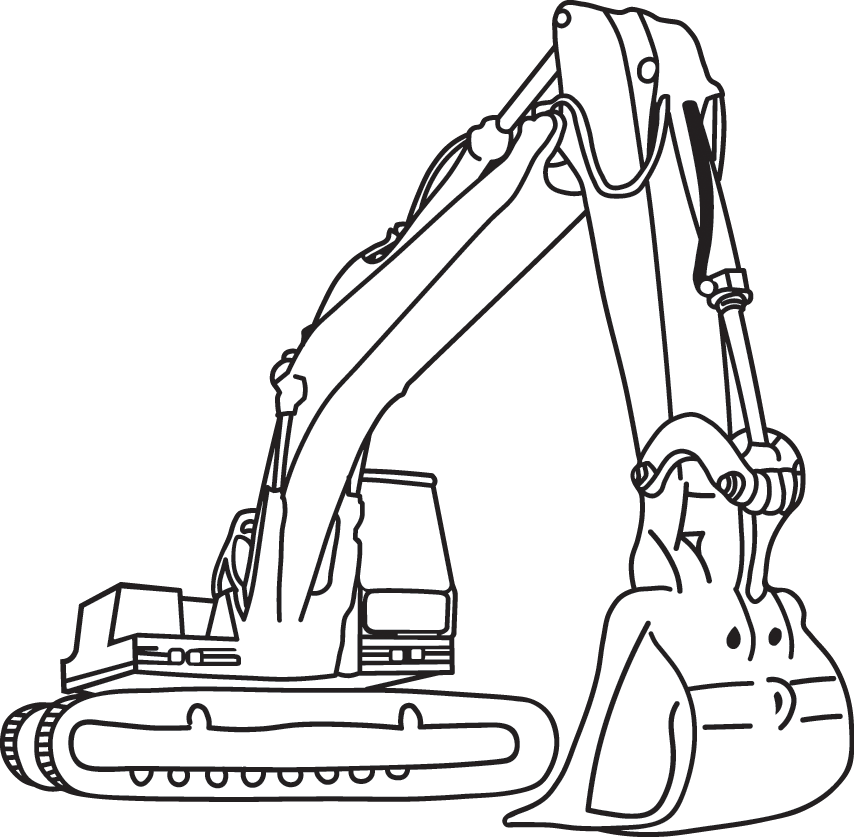 Machinery . Excavator clipart black and white