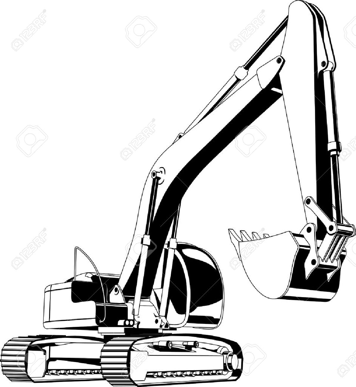 Station . Excavator clipart black and white