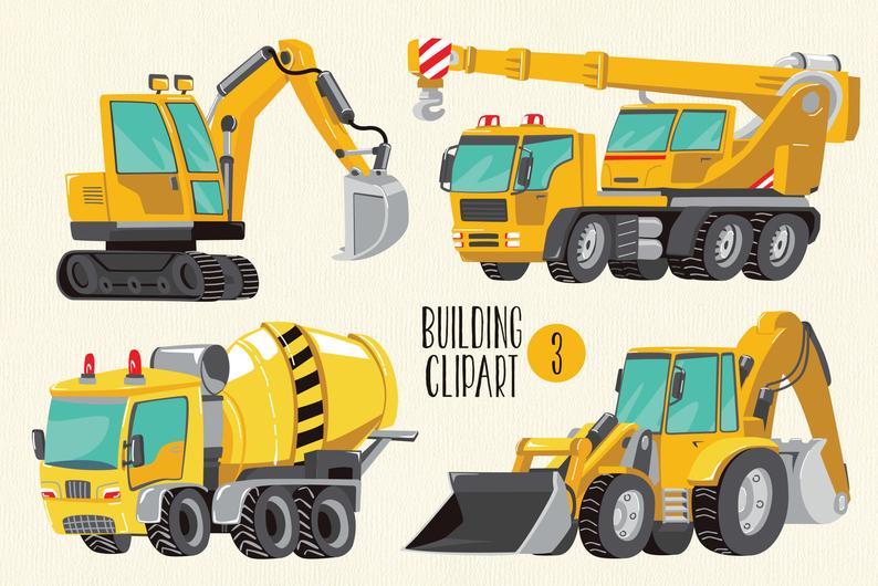 Excavator clipart building equipment. Png tractor truck concrete