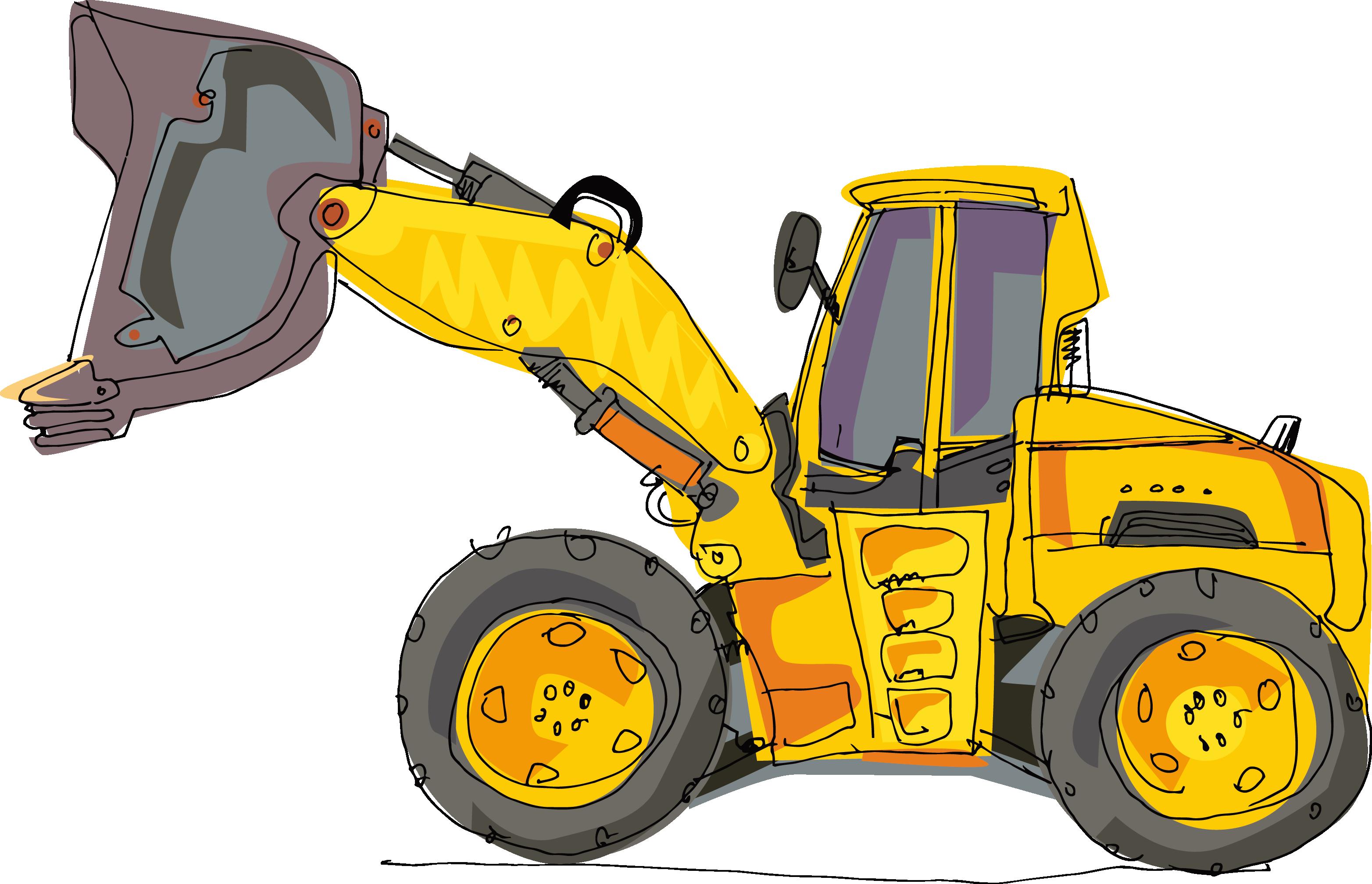 Bulldozer clipart heavy equipment. Excavator cartoon backhoe hand