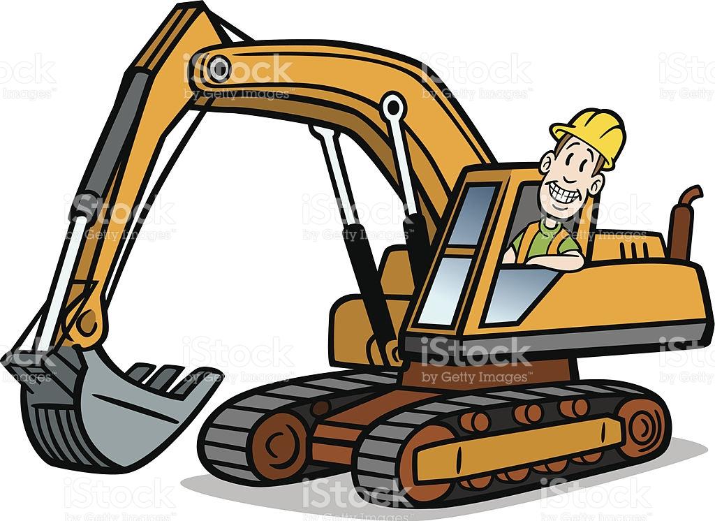Excavator clipart cartoon. Cat free download best