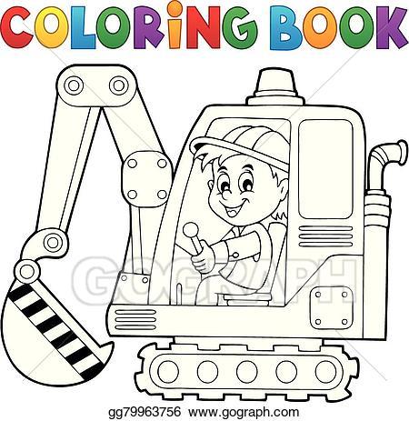 Excavator clipart coloring book. Vector stock operator theme