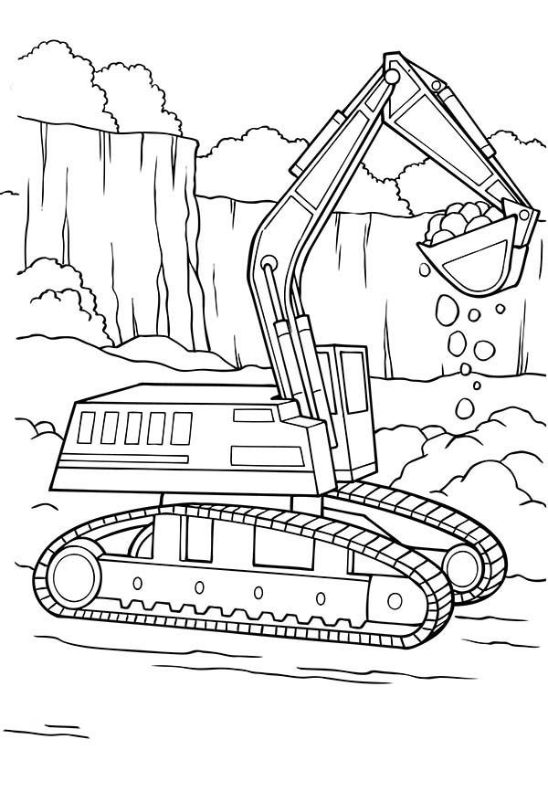Excavator clipart colouring page. Digger tractor is digging