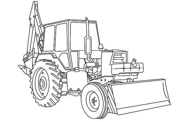 Awesome in digger coloring. Excavator clipart colouring page