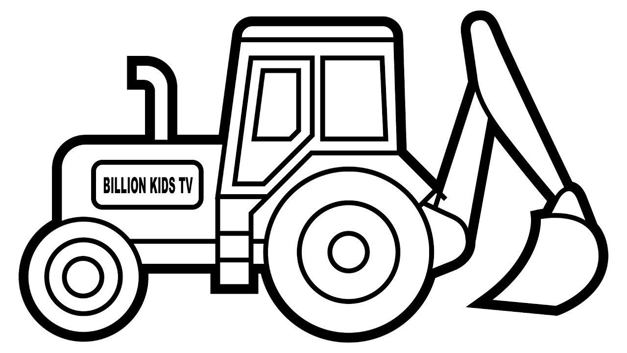 Excavator clipart colouring page. Important digger pages how