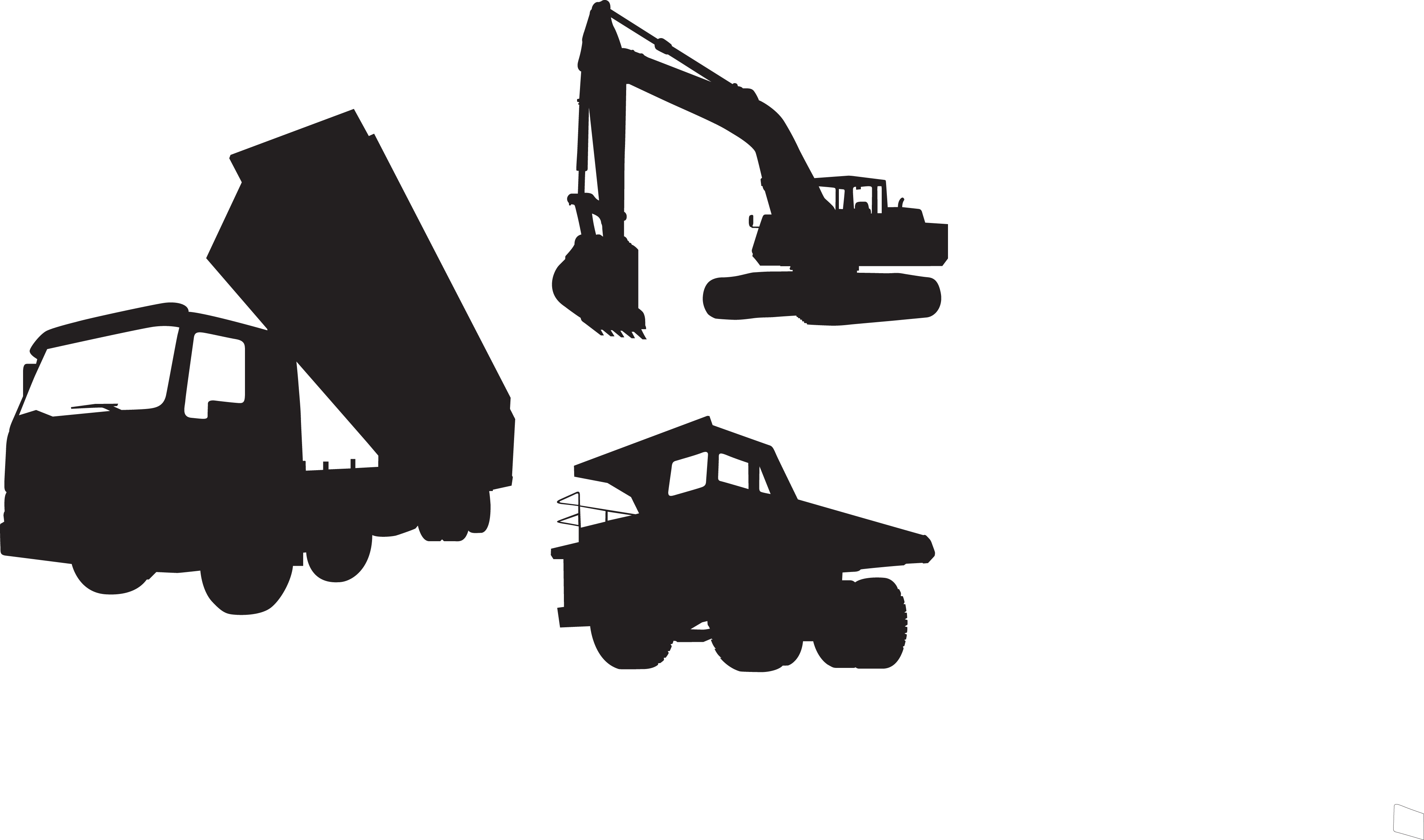 Heavy equipment architectural engineering. Excavator clipart crane truck