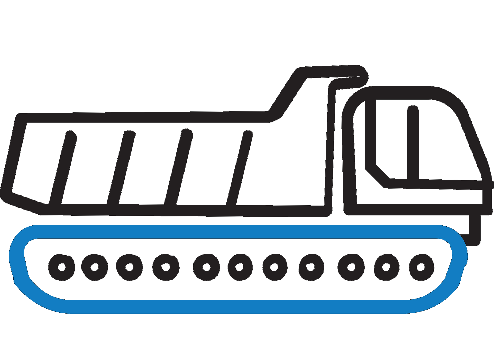 Rubber tracks and pads. Excavator clipart crawler