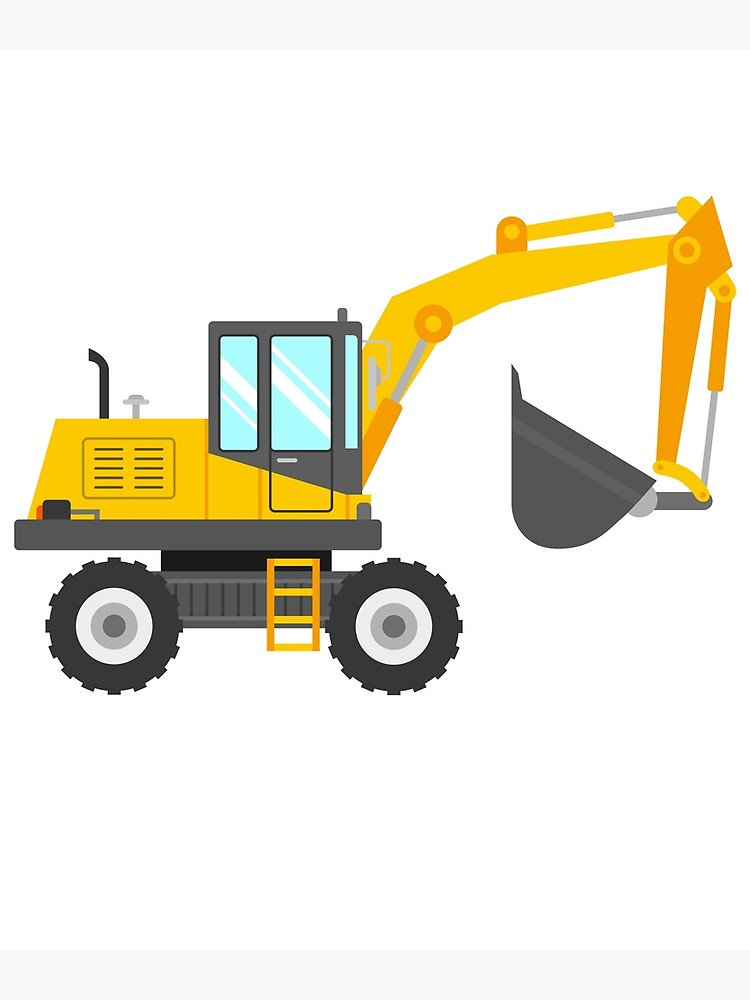 Excavator clipart cute. For kids canvas print