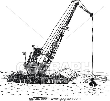 Eps illustration huge crane. Excavator clipart dredging