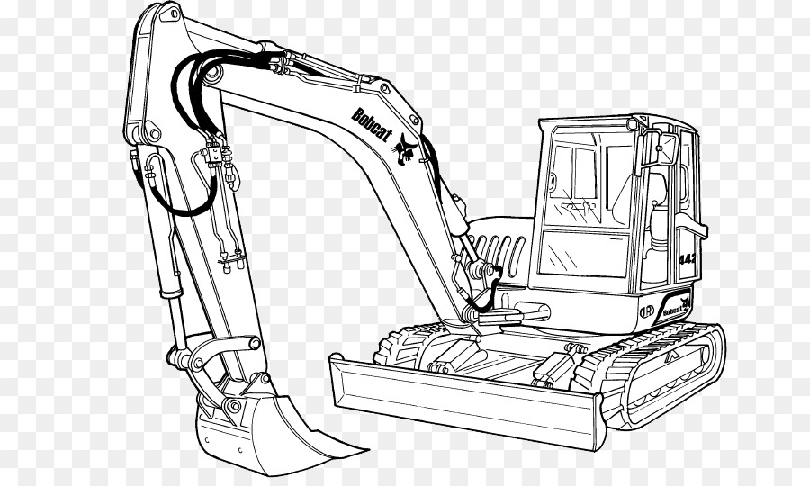 Excavator clipart excavator bobcat. White background product drawing