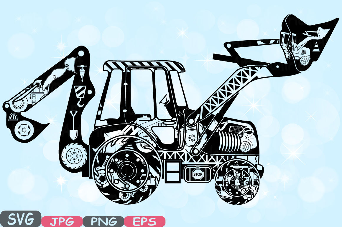 Digger silhouette svg cutting. Excavator clipart file
