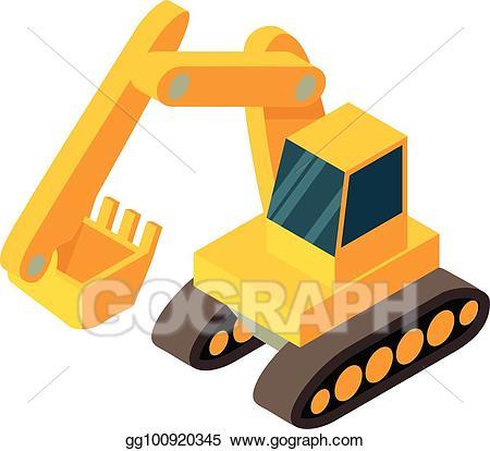 Vector isometric d style. Excavator clipart icon