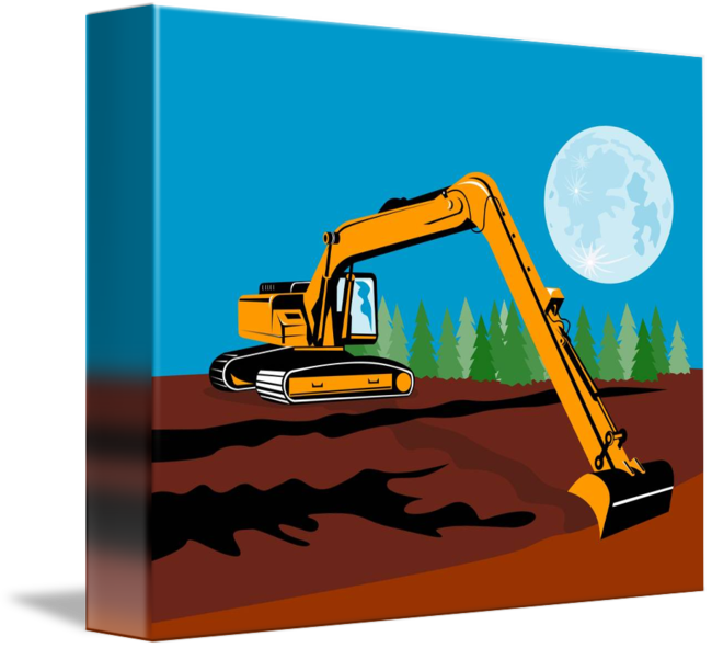 Excavator clipart mechanical. Construction digger by aloysius