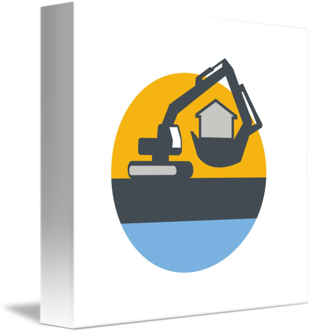 Digger handling house circle. Excavator clipart mechanical