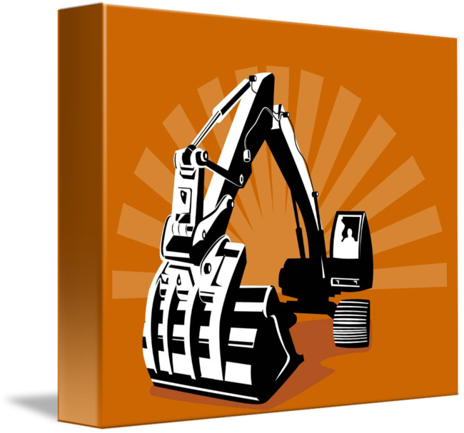 Digger retro by aloysius. Excavator clipart mechanical
