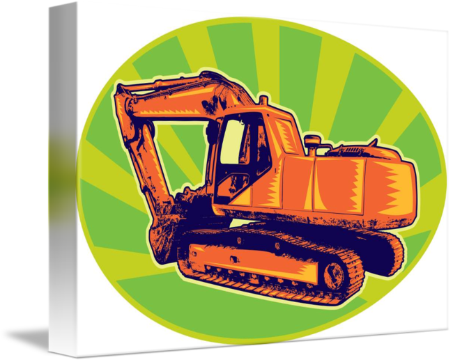 Excavator clipart mechanical. Digger retro by aloysius