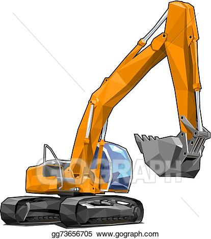 Excavator clipart mounted. Vector art drawing gg