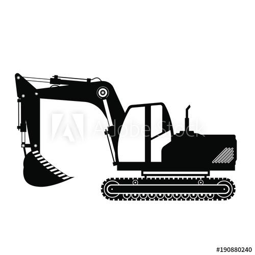 Isolated black crawler buy. Excavator clipart mounted