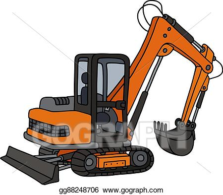 Vector illustration small eps. Excavator clipart orange