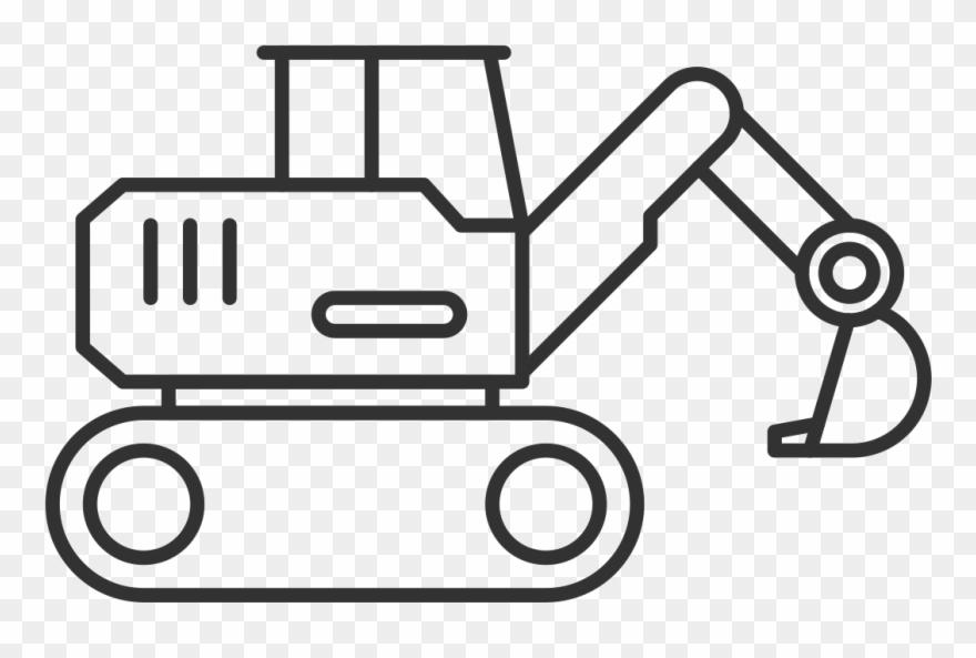 Equipment hire dajwood view. Excavator clipart outline
