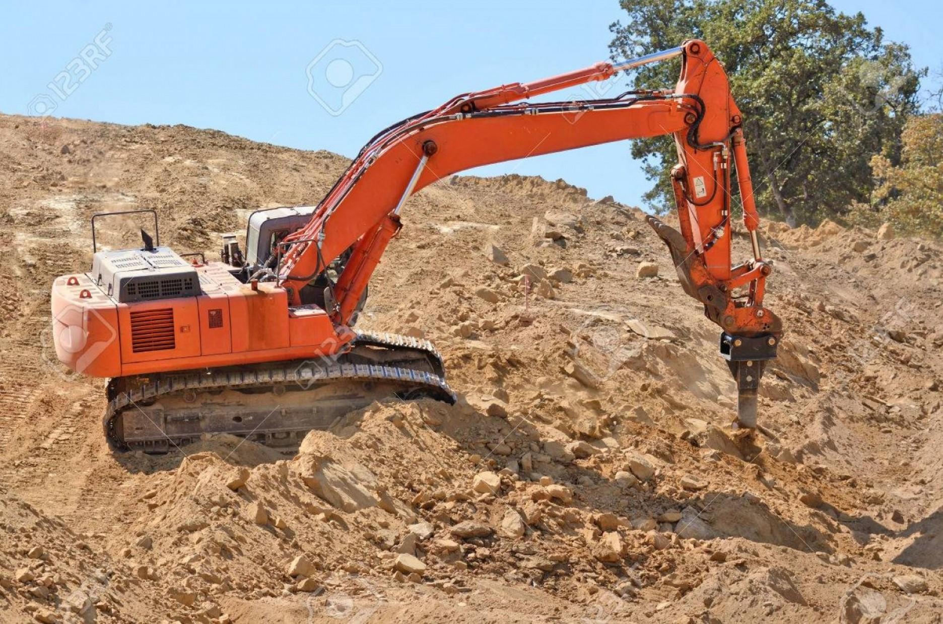 Photolarge track hoe using. Excavator clipart rock quarry