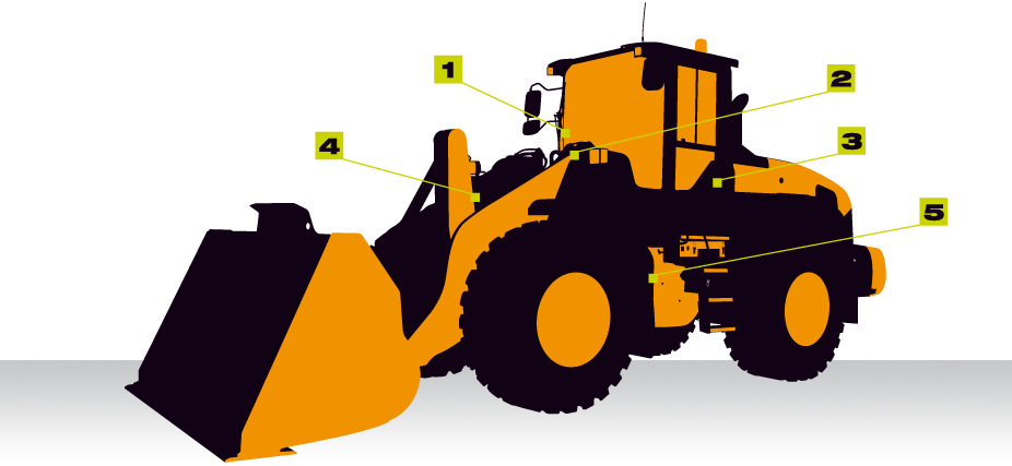 Weighing on wheeled loader. Excavator clipart rock quarry