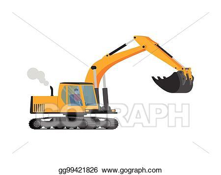 Vector stock closeup orange. Excavator clipart shovel