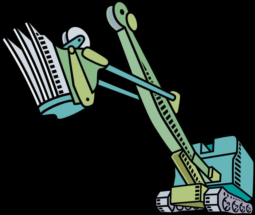 Construction steam vector image. Excavator clipart shovel