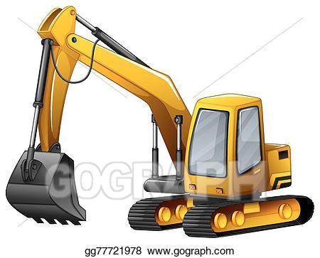 Excavator clipart shovel. Vector art drawing gg