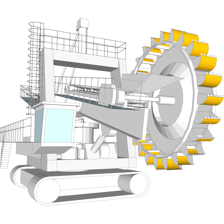 Wheel wear parts cutting. Excavator clipart side