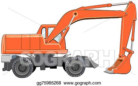 Eps illustration orange view. Excavator clipart side