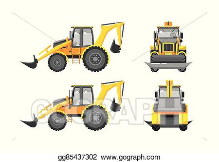 Excavator clipart side. Vector stock number one