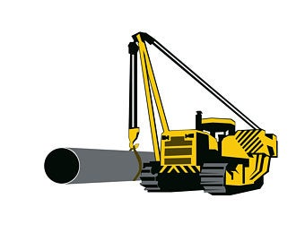 Excavator clipart side boom. Pipeline construction sideboom files