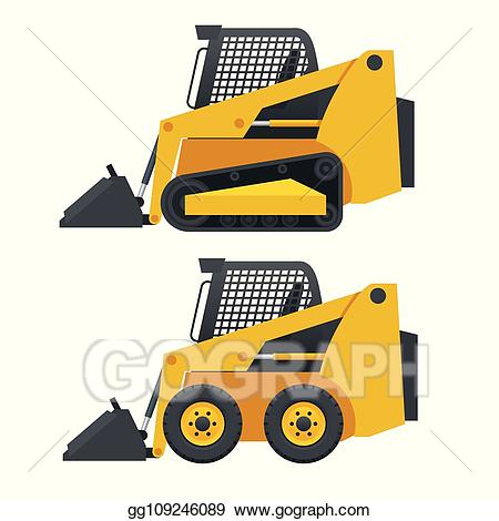 Eps illustration compact excavators. Excavator clipart side