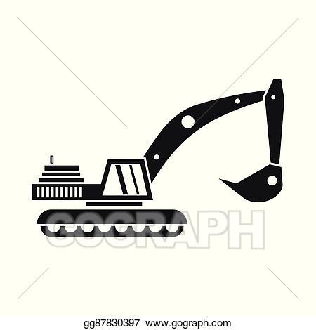 Clip art vector icon. Excavator clipart simple