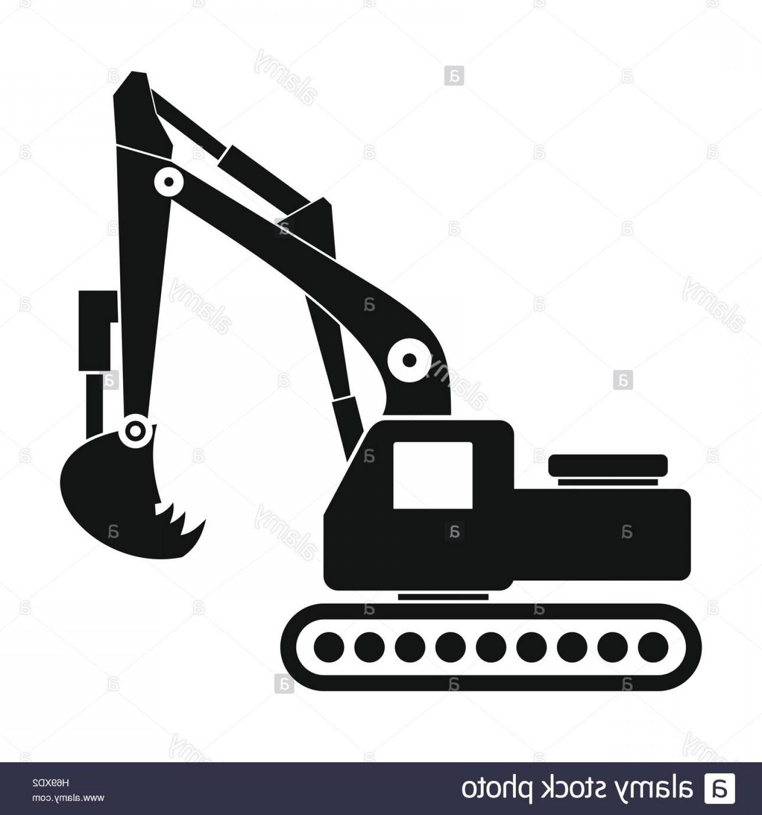 Stock photo black icon. Excavator clipart simple